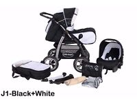 Baby Merc 3 in 1 travel system Black and white.