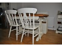 SHABBY CHIC OCK EXTENDING DINING TABLE WITH 2 CHAIRS AND STORAGE BENCH