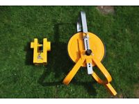 Trailer wheel clamp and hitch-lock (new)