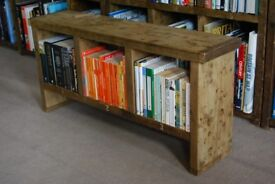 BENCH pigeon holes shoe tidy TV stand solid reclaimed salvaged wood Brighton England gplanera