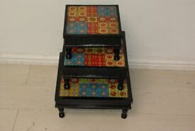 Beautiful handmade tiled and solid wood set of 3 tables