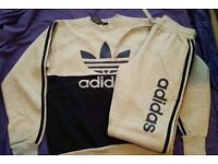 UNISEX ADIDAS TRACKSUIT - COMES WITH TAGS - GREY COLOR - SIZES: MEDIUM & XL AVAILABLE