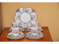 Vintage Ye Olde English Grosvenor China Jackson & Gosling Art Deco 4 Trios and Cake Plate
