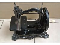 Antique 1870s Wanzer Time Utilizer Sewing Machine on Cast Iron Base