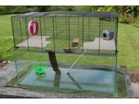 Gerbilarium / gerbil / hamster cage - extra-large ; with loads of extra stuff