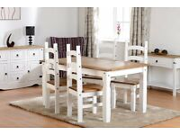 New 5ft Solid Corona dining table with 4 chairs in white or grey £299 IN STOCK NOW