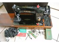 Singer semi industrial sewing machine Model 201K ( SEE 4 LAYERS SAMPLE SEWN)