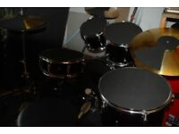 MAPEX TORNADO DRUM KIT AND EXTRA CYMBAL AND DRUM PADS/SILENCERS