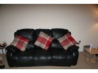 USED LEATHER SOFA 3 SEATER ELECTRIC RECLINER AND 2 SEATER