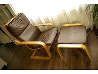 IKEA POANG chair with footstool - brown leather
