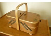Elegant folding lightweight wooden Sewing or Darning Basket
