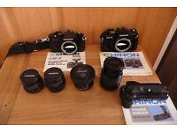 2 x Chinon SLR Film Cameras & 4 lenses