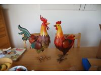 Chicken and Cockerel metal garden ornaments BNWT