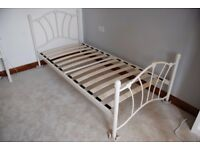 Single Ivory Metal Bed