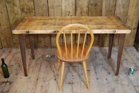 DESK industrial reclaimed wood & steel Swedish pine Brighton vintage table worktop gplanera