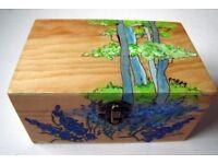 """BLUEBELL WOODS"" original, unique painted Pine Trinket Box"