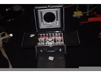 NEW STUNNING BLACK AND SILVER BEAUTY CASE COMPLETE WITH COLOR WORKSHOP SEALED COSMETICS, CAN POST