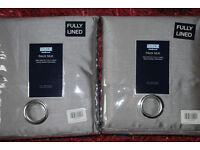 Faux silk curtains, 66 x 90, ring-top, silver grey, fully lined, brand new (2 pairs)