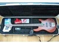 Bass guitar: Yamaha BBN411 red brown bass guitar and TKL hard case