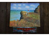 OIL PAINTING sea cliffs impressionist Brighton Hove canvas easy to hang: stick straight to wall