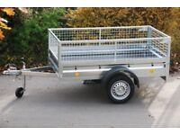 Car trailer 6x4 single axle 750kg with mesh sides
