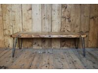 COFFEE TABLE industrial reclaimed wood upcycle Brighton rustic hairpin gplanera