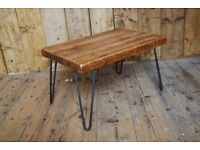 COFFEE TABLE tv stand lamp table industrial reclaimed wood steel upcycle hairpin rustic gplanera