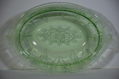 VTG HOCKING CAMEO BALLERINA GREEN VASELINE GLASS OVAL VEGETABLE BOWL 1930-1934