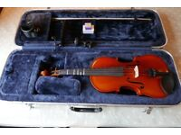 Full size wooden student Violin with Bow and protective Case