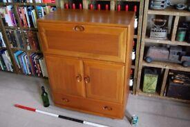 ERCOL bureau BLUE label natural finish 1962 469 original mid century modern vintage cabinet gplanera