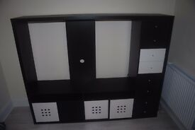 IKEA LAPPLAND TV storage unit with draws and storage boxes - Black and White