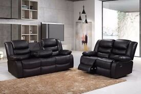 Luxury Rhianna 3&2 Bonded Leather Recliner Sofa Set With Pull Down Drink Holder