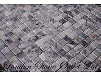 Pietra Bluestone Polished Marble Mosaics 2.3cm x 2.3cm x 1cm - 100% real Marble