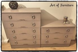 Two Wooden Chests of Drawers Hand Painted in ANNIE SLOAN Coco Chalk Paint