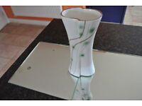 "Cream Vase with Green & Brown Pattern 8"" x 7"" x 3.5"""