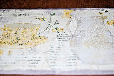 - Garden Tea Cup & Pitcher Yellow Rose Butterfly Wallpaper Border Design  W1145