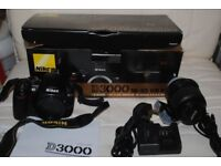 Nikon D3000 with 18-55 DX Vr Lens All Boxed