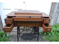 Stunning vintage cast iron base sewing machine table/cabinet with treadle