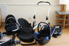Silver Cross Surf 2 (Black) with Simplicity Car Seat and Simplifix Isofix Base