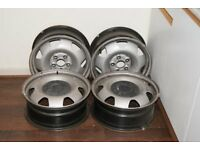4x 17 inch Genuine VW Transporter T5/T6/Caravelle silver used steel wheel
