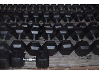 BRAND NEW RUBBER HEX DUMBBELLS *£2/KG * LIMITED STOCK (WEIGHTS GYM DUMBBELL)
