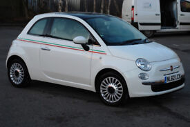 White Fiat 500 1.2 Lounge RHD 3dr Hatchback (start/stop) with Italia Side Stripes MOT 22/10/18