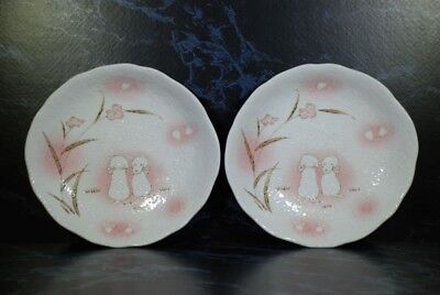 HAND TURNED JAPANESE PUPPY DOG LARGE POTTERY BOWLS SET OF 2