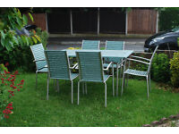 TEAK AND ALUMINIUM TABLE AND CHAIRS