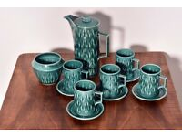 Stunning Retro Midcentury Vintage Eastgate Geometric Turquoise Coffee/Tea Set