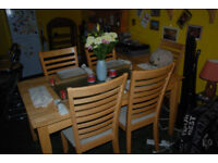 dining table and five chairs