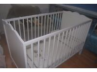 White Cot Bed, 2 adjustable heights, great condition.