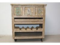 Beautiful hand-carved solid wood wine unit with draw and tray