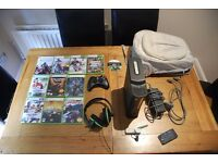 XBOX 360 | 120GB HDD | All leads | Wireless Adapter | 1 Black Controller | Headset | Bag | 11 Games
