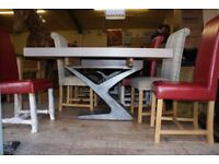 Windermere Smoked Oak Extending Monastery Dining Table with Metal Legs